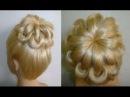 Причёски для средних, длинных волос.Причёска Пучок из волос.Ажурный пучок с плет...