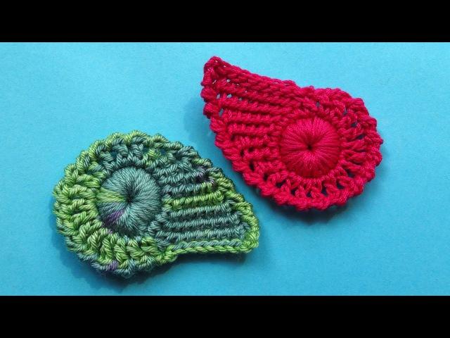 Crochet leaf pattern Комбинированный листик крючком Урок вязания 335