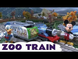 Mickey Mouse Disney Donald Duck on a Tomy Takara Zoo Train with Chuggington Thomas The Tank Kids