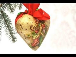 Декупаж. Новогоднее сердце. Как приклеить салфетку на выпуклую поверхность? Как сделать тени вокруг мотива?