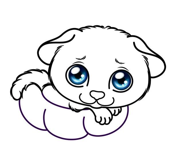 Раскраска для девочек щенки - 6