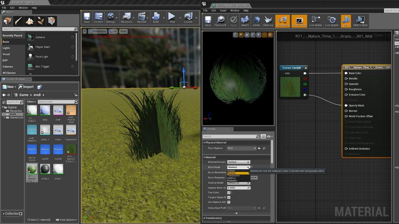 Прозрачная текстура в Unreal Engine 4