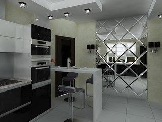 Зеркальная стена на кухне