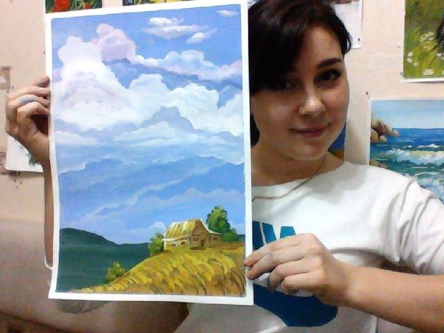 Рисуй! Онлайн урок Рисуем гуашью Муаровые облака! МК Дарьи Краевой!