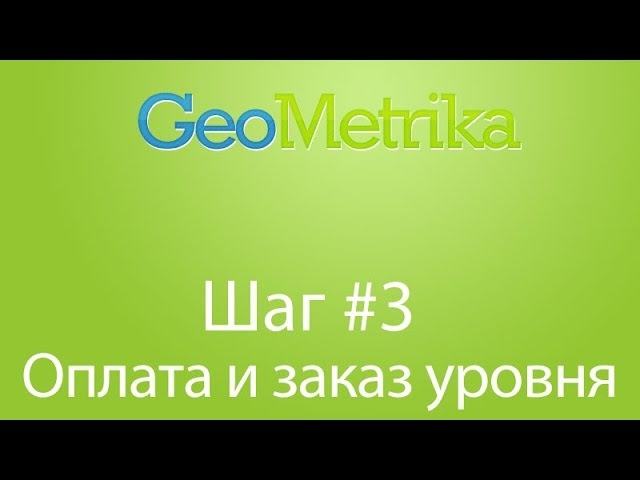 Шаг 3 - Оплата и заказ уровня в GeoMetrika