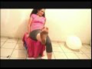Balloon Pop Popping Extra Large with bare dirty feet Woman Blowing up and popping with feet