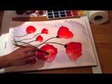 Painting poppy Рисование маков акварель