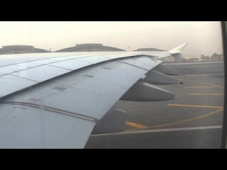 Взлет Airbus A380-800 авиакомпании Emirates по маршруту Дубай-Москва (Домодедово)