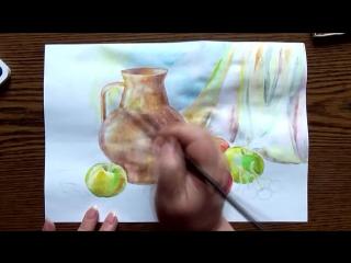 Быстрое Рисование | Натюрморт с Яблоками | Акварель