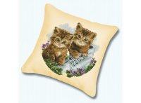 """Набор для вышивания. подушка """"котята"""" (канва бежевая), Белоснежка"""