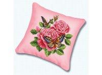 """Набор для вышивания. подушка """"бабочки и розы"""" (канва розовая), Белоснежка"""