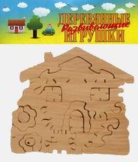 """Пазл-раскраска """"домик с цветами"""", деревянный конструктор, Анданте"""