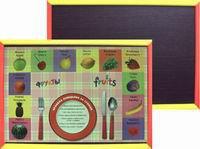 """Доска-поднос """"фрукты"""" для лепки из пластилина и рисования мелом в деревянной цветной раме, двусторонняя, Анданте"""