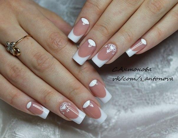 Фото дизайн ногтей френч белый