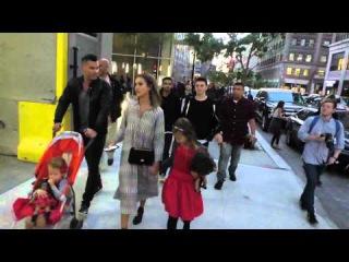 Jessica Alba and Cash Warren with children Honor Marie Warren and Haven Garner Warren leaving Trump