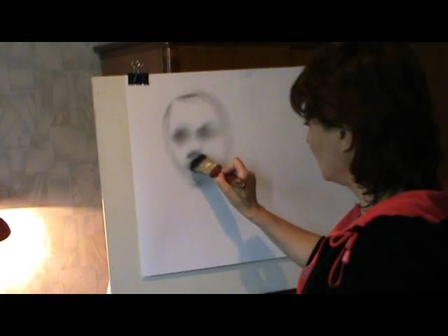 Учимся рисовать портрет в технике сухая кисть. Урок 2