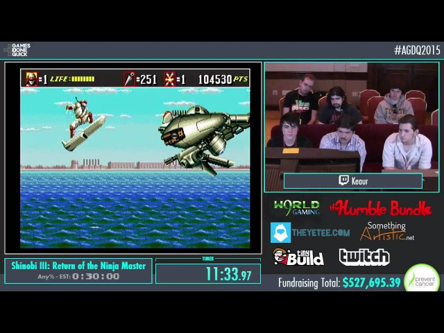 AGDQ 2015 Shinobi III: Return of the Ninja Master Speed Run in 0:26:23 by Keaur AGDQ2015