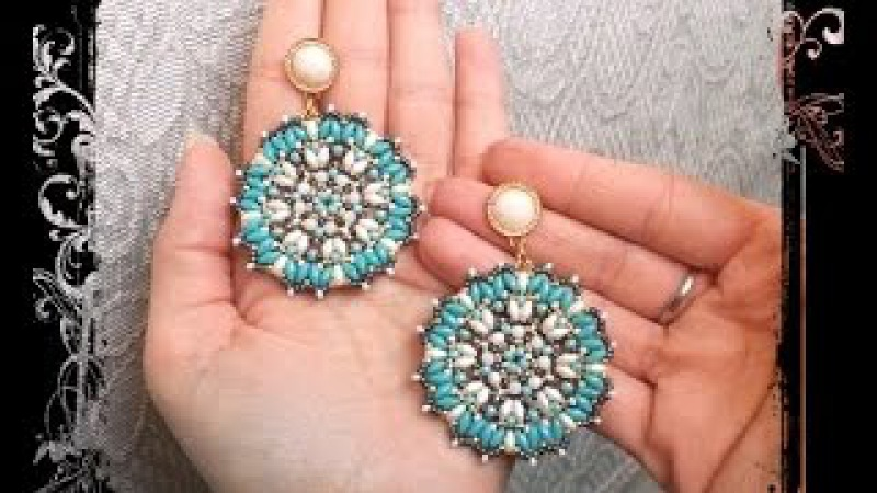Orecchini * EMMA * Tutorial modulo ciondolo - superduo rocailles cristalli Perline Earrings DIY