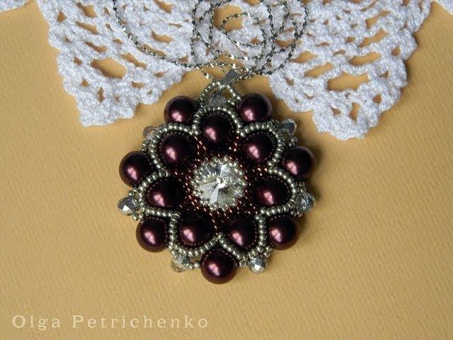 Делаем кулон из бисера и бусин. Making pendant of beads and beads.