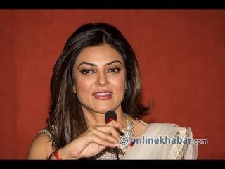 Indian actress Sushmita sen talking with media at Kathmandu