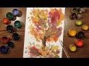 Speed Painting | Autumn Tree 2 | Technique Monotype | Gouache | IOTN