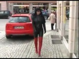 fetish lady anja red leather boots