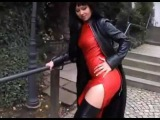 Lady Anja in red leather dress