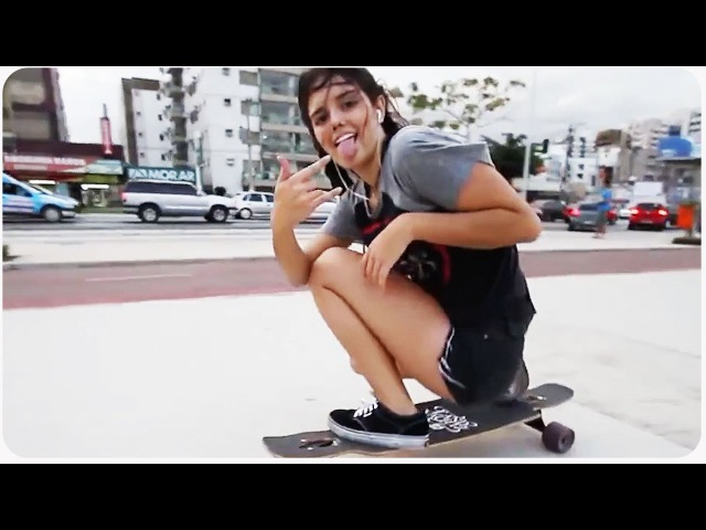 Awesome Longboarding Girl Does Skateboard Dancing