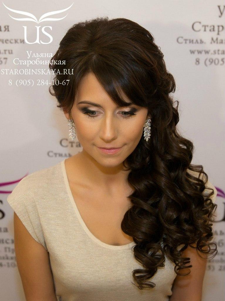 Причёска на длинные волосы с чёлкой локоны