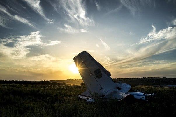 Обломки самолета Ан-26 вооруженных сил Украины, сбитого бойцами народного ополчения, в окрестностях села Давыдо-Никольское Луганской области