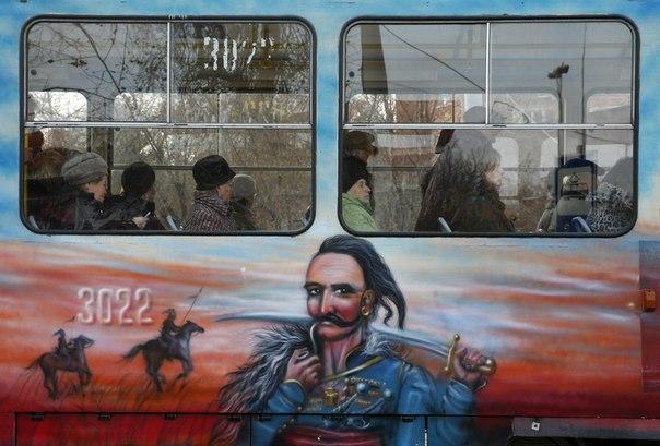 Оформление трамваев в ДНР