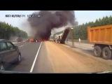 Страшные автокатастрофы с возгоранием. Пожар на дороге