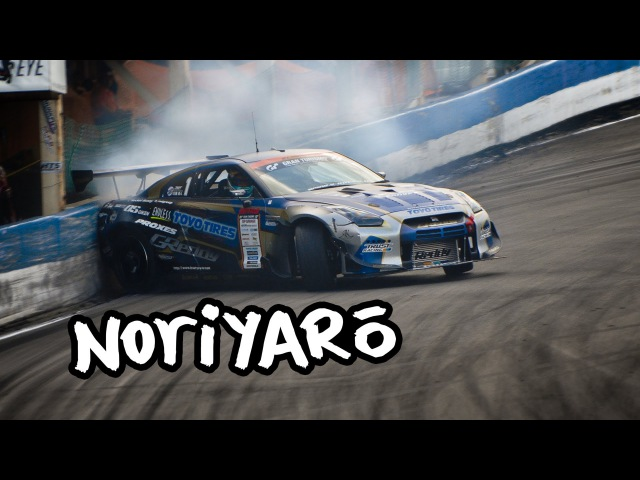 Drift GT R misses crashing by inches Kawabata in the GReddy R35 D1GP GT R at Ebisu Circuit