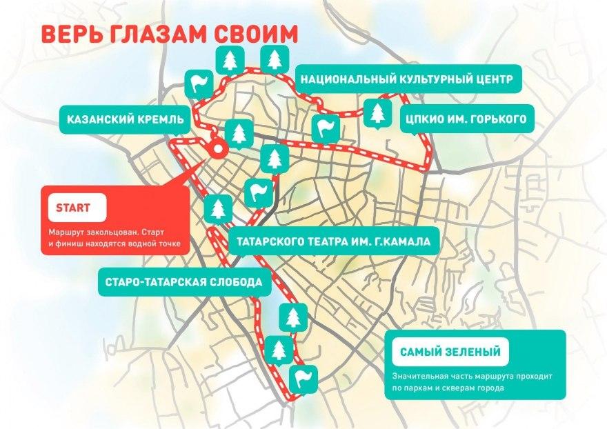 Маршрут велоэкскурсии «Удивительная Казань»