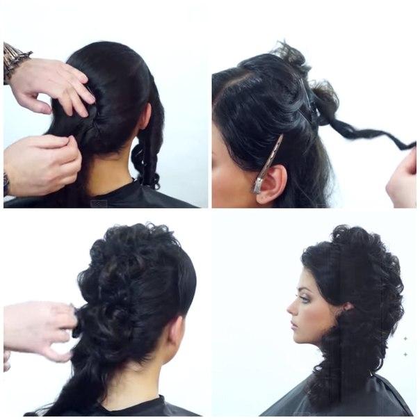 Причёски из кудрей на средние волосы своими руками 62