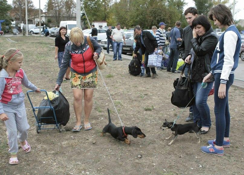 Беженцы на границе с Россией