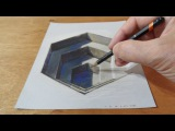 [АРТ:Рисование]Drawing a 3D Hexagonal Hole, Trick Art