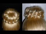 Пучок из волос с плетением.Вечерняя причёска на выпускной, свадебная причёска на средние волосы
