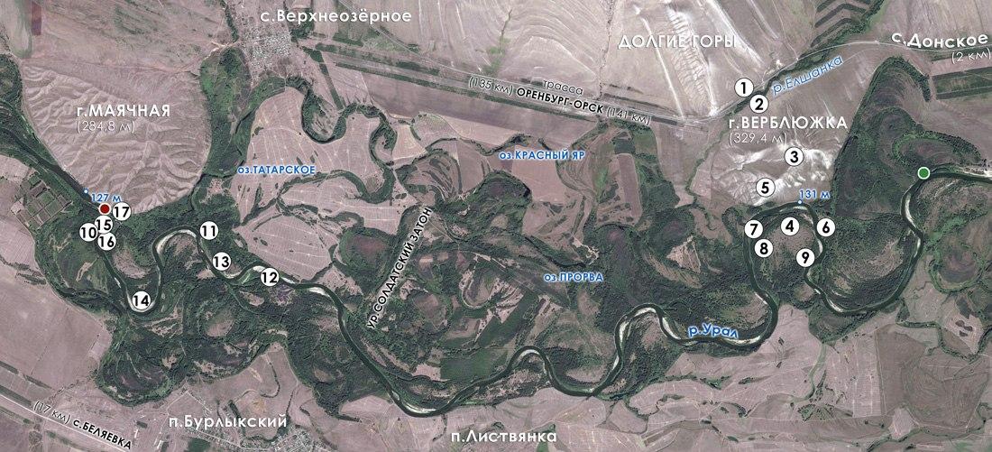 Обзорная схема территории исследования (пунсонами на карте обозначены номера фотографий)