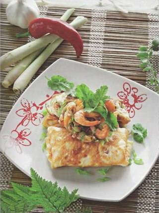 Фото рецепта: Тайский омлет с креветками