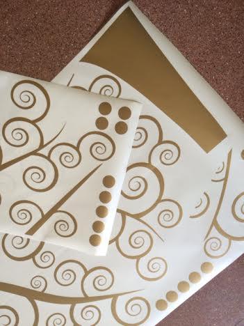фото наклейка дерево золотое