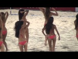 bikini girls dancing on the beach sexy cheerleaders 2015