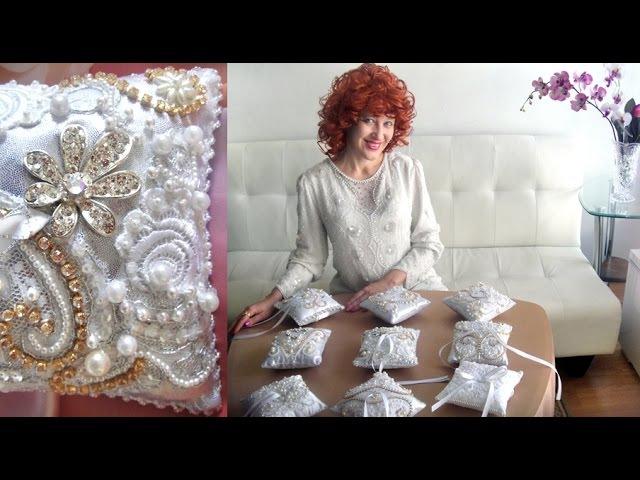 Свадебные аксессуары подушечки для колец. Вышивка жемчугом бисером стразами. София Голдберг