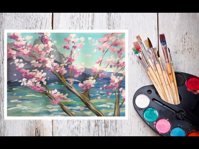 Как нарисовать сакуру на фоне скал гуашью! Dari_Art