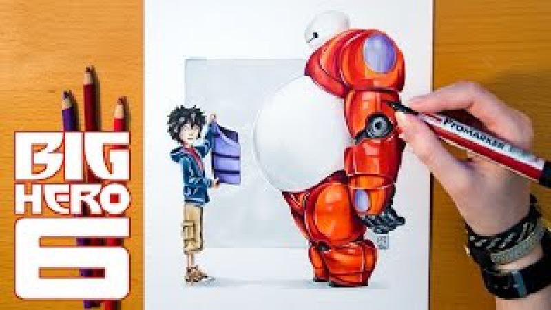 Speed Drawing HIRO and BAYMAX - Disney's Big Hero 6