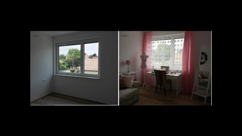 Weißes Zimmer mit bunten Wohnaccessoires. Vorher - nachher.kleine Räume einrichten