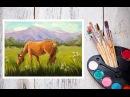 Как нарисовать лошадь Пишем картину маслом Лошадь на лугу Dari Art