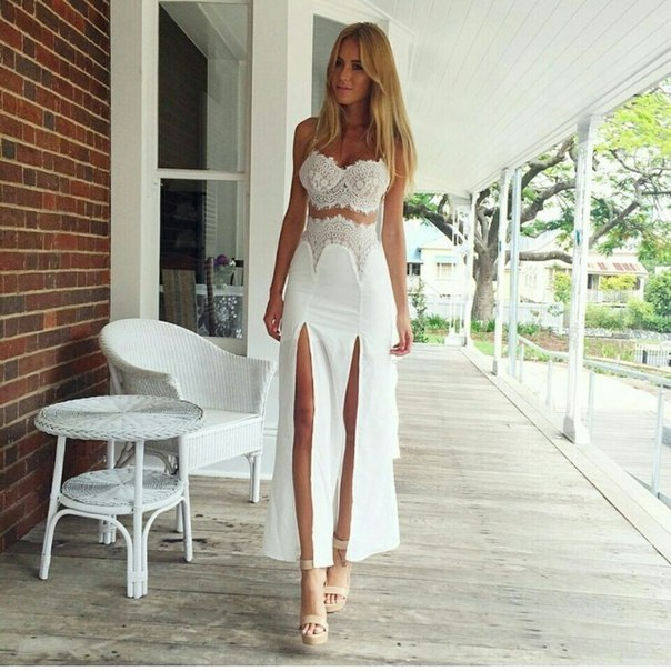 Long white lace summer dress