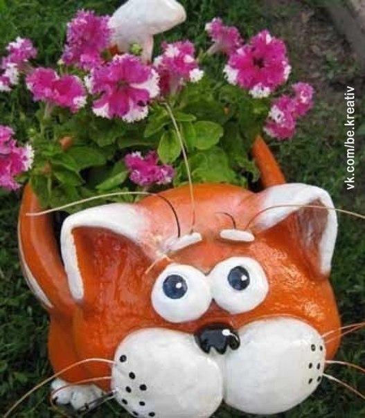 Кот из цемента и гипса для сада своими руками