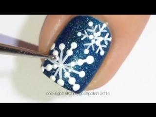 Зимний дизайн ногтей - Снежинка - маникюр гель лак - уроки дизайна.